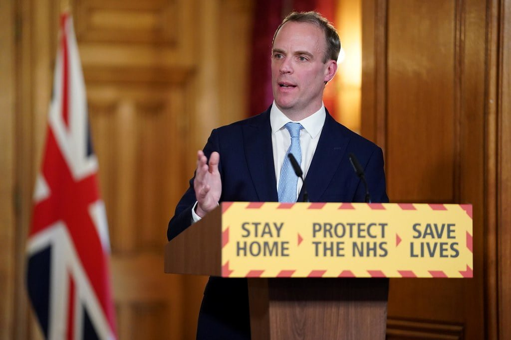 An image of Dominic Raab, the UK Foreign Secretary and erstwhile stand-in prime minister, giving the nation's press the sort of firm-but-fair clarity he's known for.